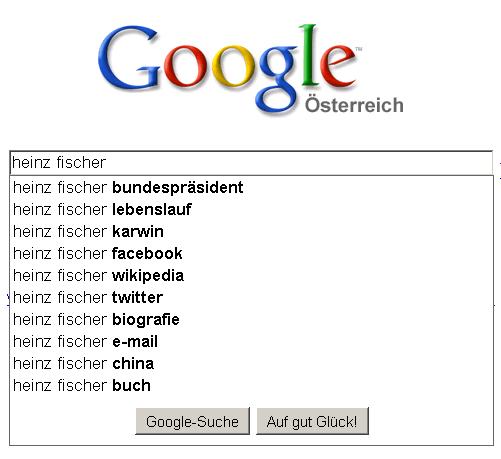 Google Suggest für Heinz Fischer