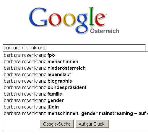 Goggle Suggestions für Barbara Rosenkranz