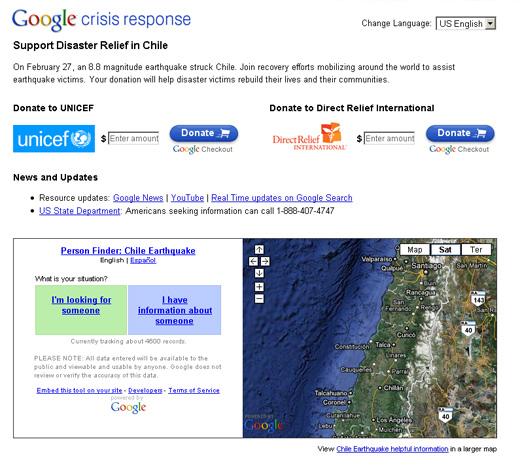 Google Help Site nach Chile Erdbeben