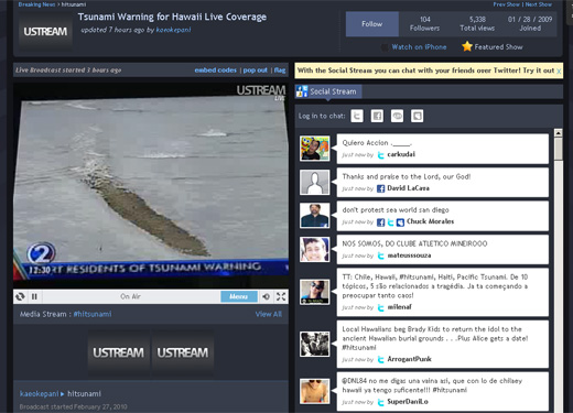 Ustream Hawaii Tsunami Livestream