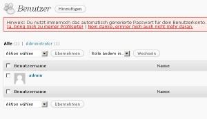 Wordpress - Backend - Adminuser löschen